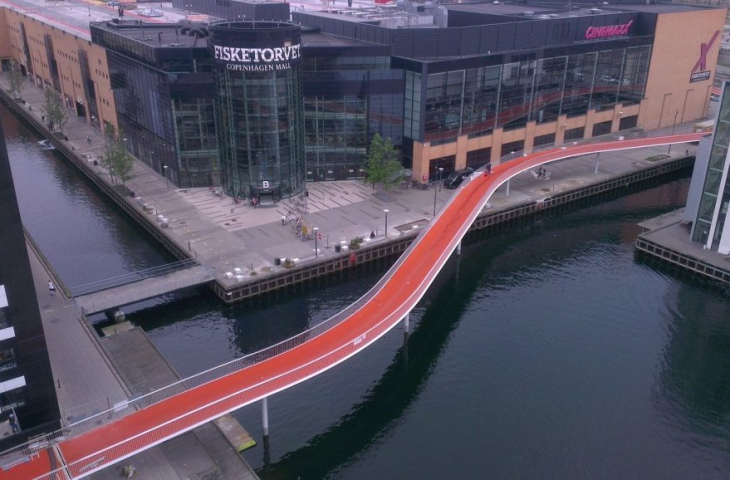 Le pont « Cycle Snake » à Coppenhague, exclusivement réservé aux cyclistes